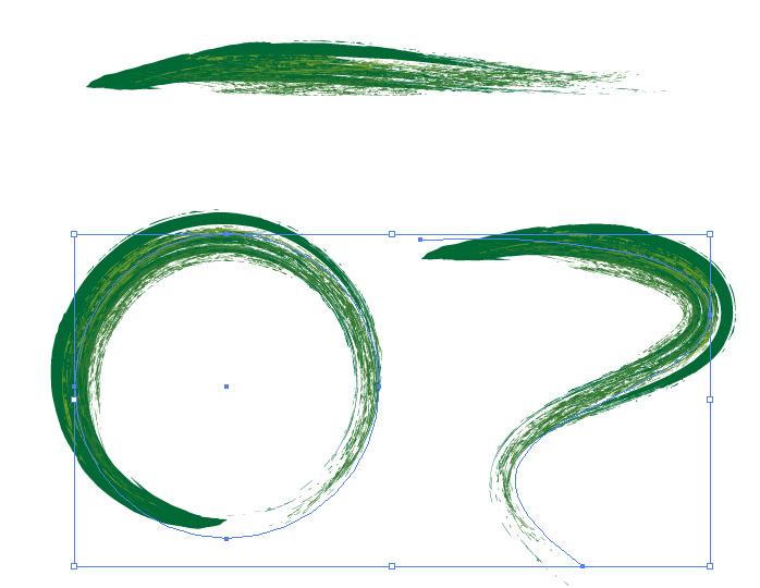 緑色の毛筆イラレ・アートブラシ
