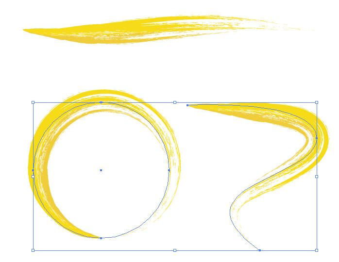 黄色の毛筆イラレ・アートブラシ