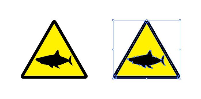 サメへの注意を表す標識アイコンマーク