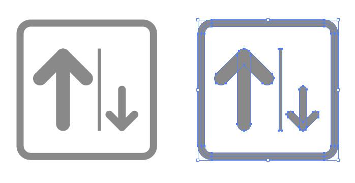 左側通行を表す簡易アイコンイラスト