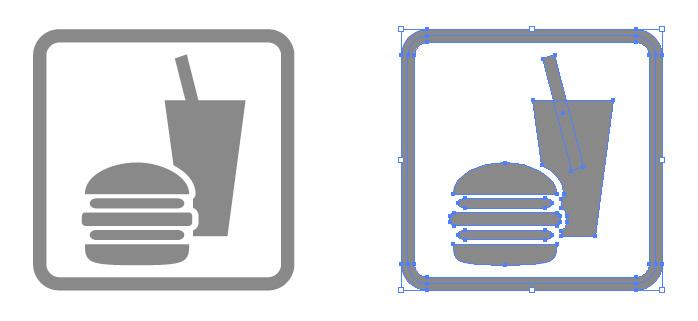 フードコート・飲食スペースの簡易アイコンイラスト