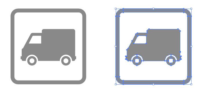 トラック・貨物車案内の簡易アイコンイラスト