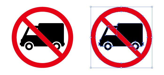 トラックの進入 駐車 禁止を表す標識アイコンマーク