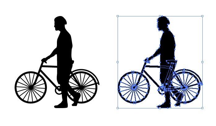 自転車を押す男性のシルエットイラスト
