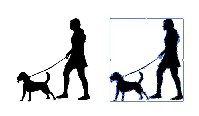 犬と散歩と女性のシルエットイラスト