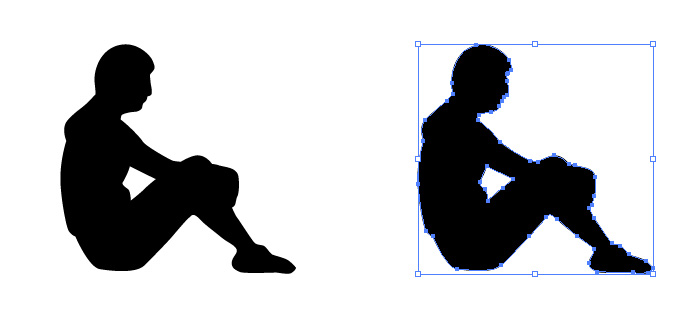 体育座りをする女性のシルエットイラスト 無料配布イラレ