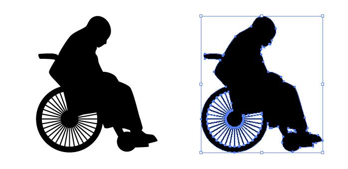 車椅子に乗る人のシルエットイラスト 無料配布イラレ