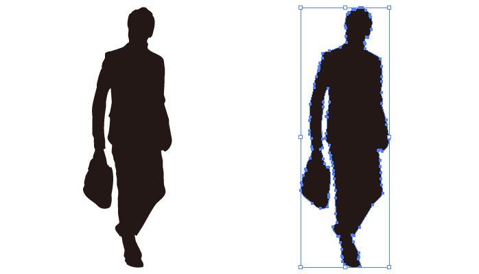 鞄を持って横を向く男性のシルエット・影絵素材