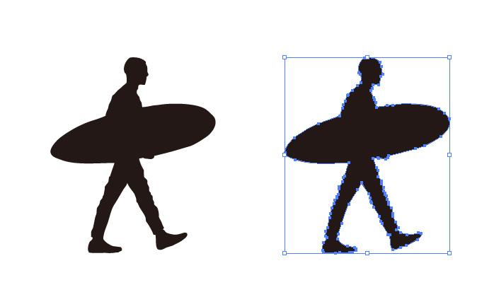 サーフボード サーフィン 男性のシルエット・影絵素材