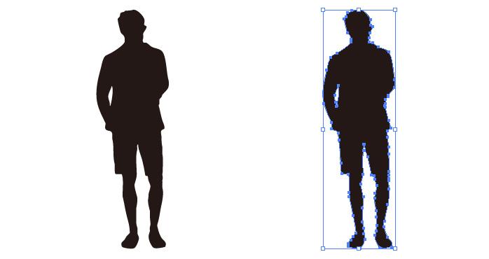 短パンを穿いた男性のシルエット・影絵素材
