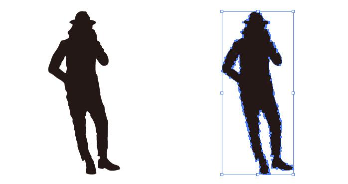 ハットをかぶったロン毛の男性のシルエット・影絵素材