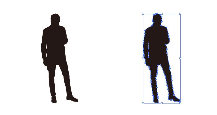 下を向いて立つ男性のシルエット・影絵素材