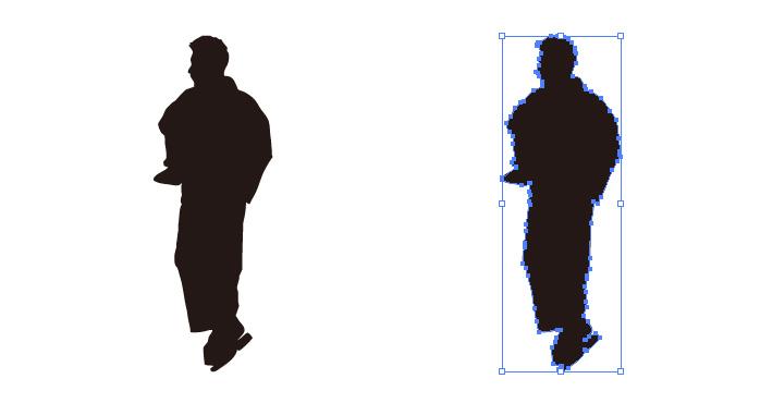 和服を着た男性のシルエット・影絵素材