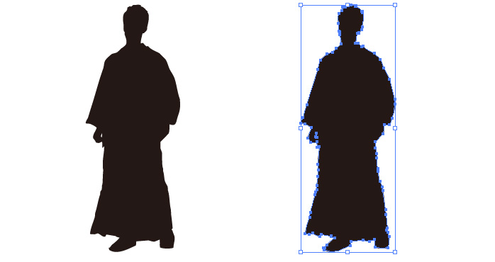 袴を着た男性のシルエット・影絵素材