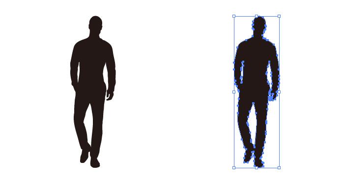 正面向きのゆったりと歩く男性のシルエット・影絵素材
