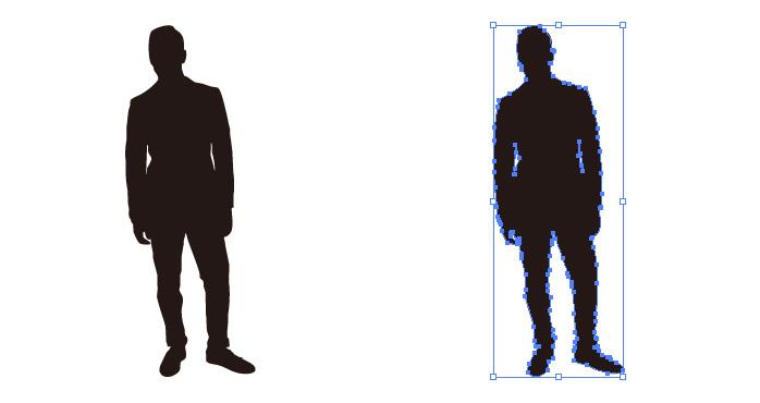 立つ男性のシルエット・影絵素材