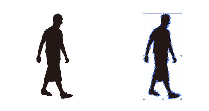 短パンを穿いて歩く男性のシルエット・影絵素材