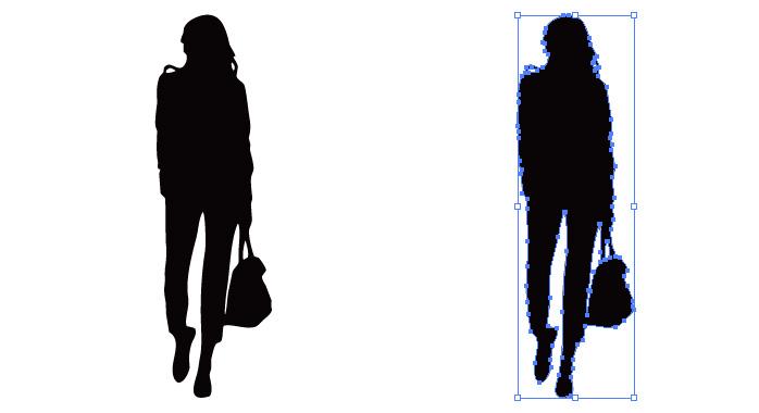 バッグを持って歩く女性のシルエット・影絵素材