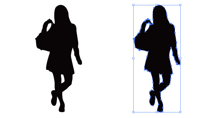 バッグを肩にかけて歩く女子学生のシルエット・影絵素材