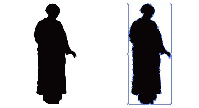 着物の女性のシルエット・影絵素材