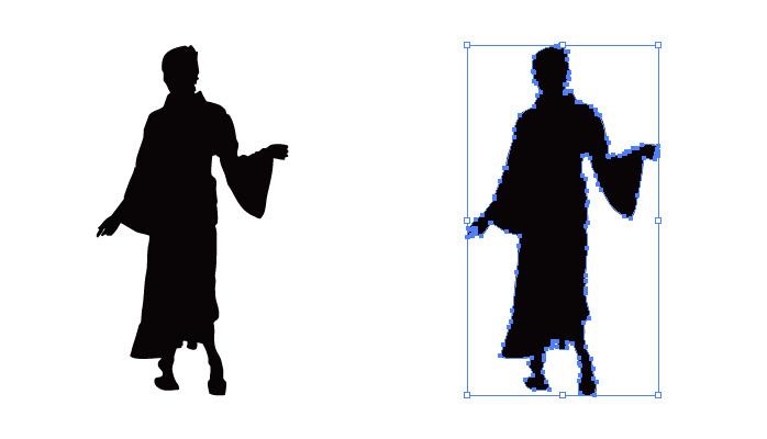 ドレス姿の女性のシルエット・影絵素材