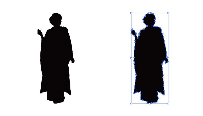 振り袖姿の女性のシルエット・影絵素材