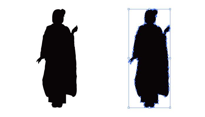 和服姿の女性のシルエット・影絵素材