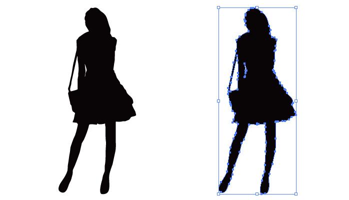 スカートを穿いた女性のシルエット・影絵素材