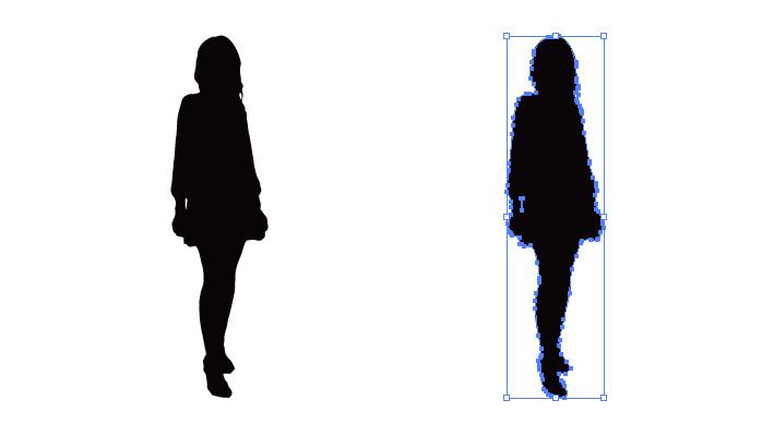 短めのスカートの女性のシルエット・影絵素材