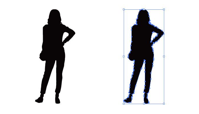腰に手をかける女性のシルエット・影絵素材