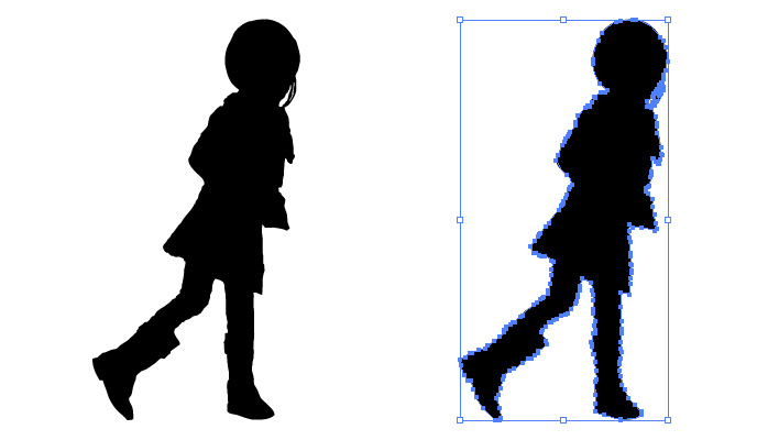 ブーツを履いた女の子のシルエット・影絵素材