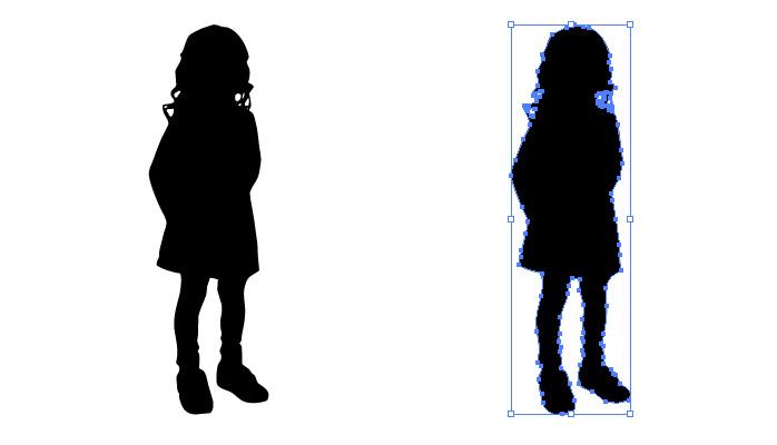 スカートの女の子のシルエット・影絵素材