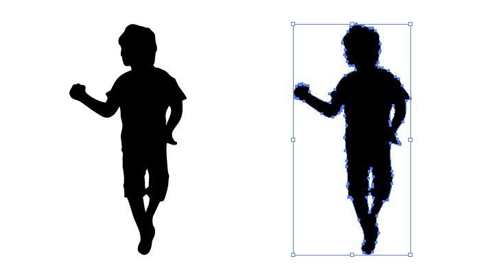 ポーズをとる男の子のシルエット・影絵素材