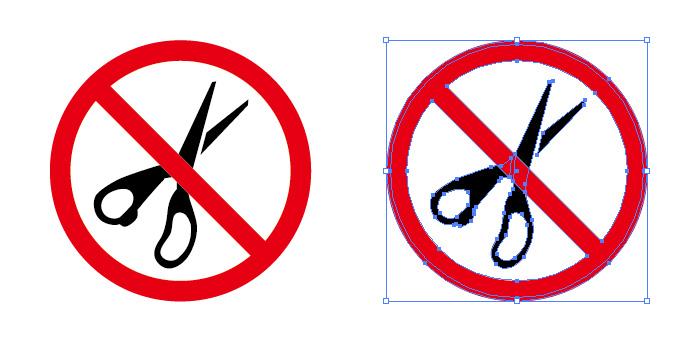 ハサミ はさみ 使用禁止を表す標識アイコンマーク