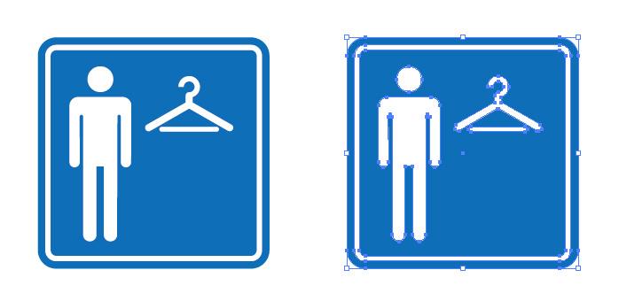 男性用の試着室を表す案内標識アイコンマーク