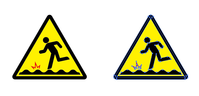 凸凹注意を表す標識アイコンマーク