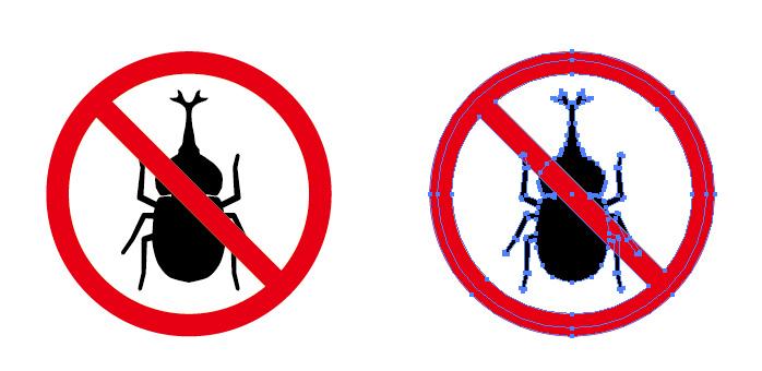 昆虫採集 カブトムシ 甲虫 の禁止を表す標識アイコンマーク