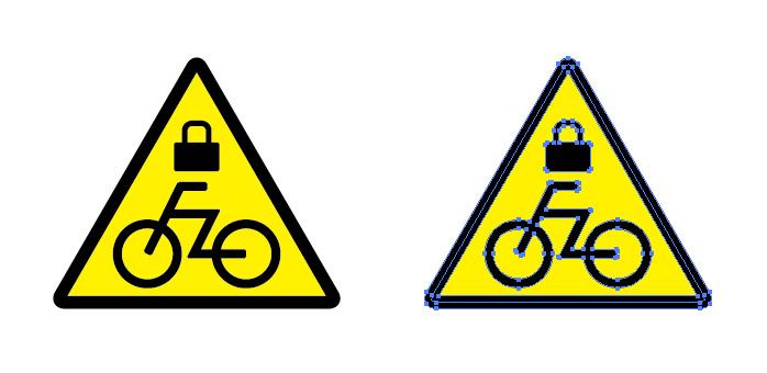 自転車への施錠注意を表す標識アイコンマーク