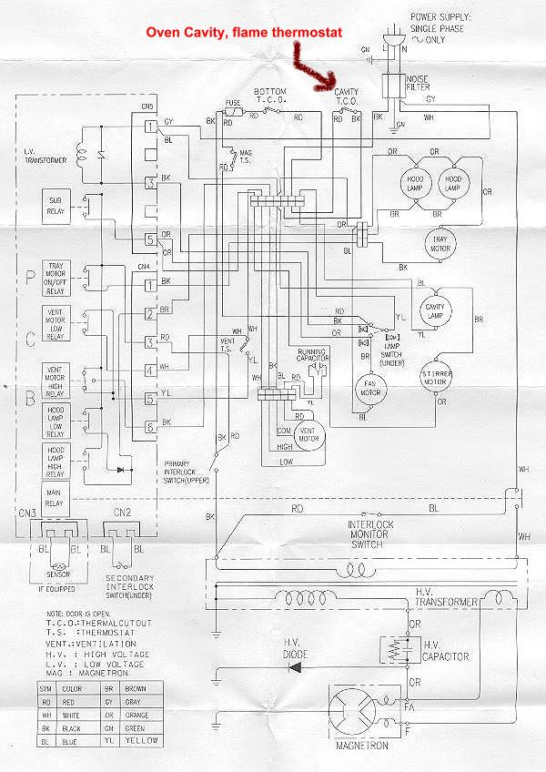 wiring diagram for built in oven