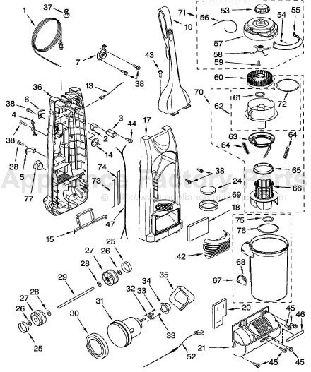 Vacuum Parts: Kenmore Vacuum Parts Model 116