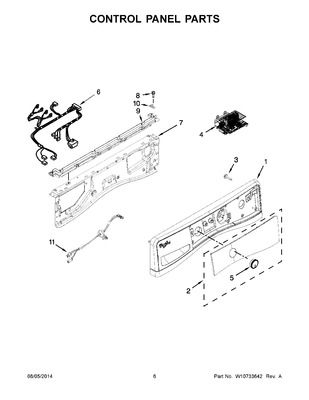 W10433082 : WHIRLPOOL WASHER CONTROL PANEL ASSEMBLY, WHITE