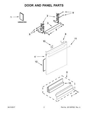 W11087927 : Whirlpool Dishwasher Front Panel, White