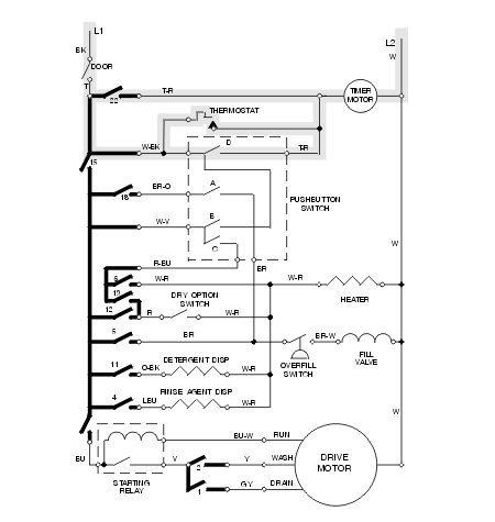 dishwasher wiring diagram schematic  cycle not advancing