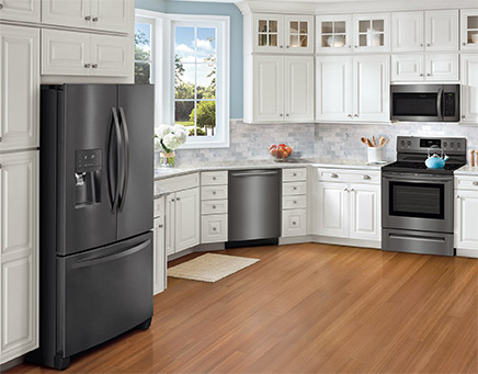 frigidaire kitchen package replacement doors gallery black stainless steel appliances connection a beautiful new look with the same easy to clean fingerprint resistant finish introducing smudge proof