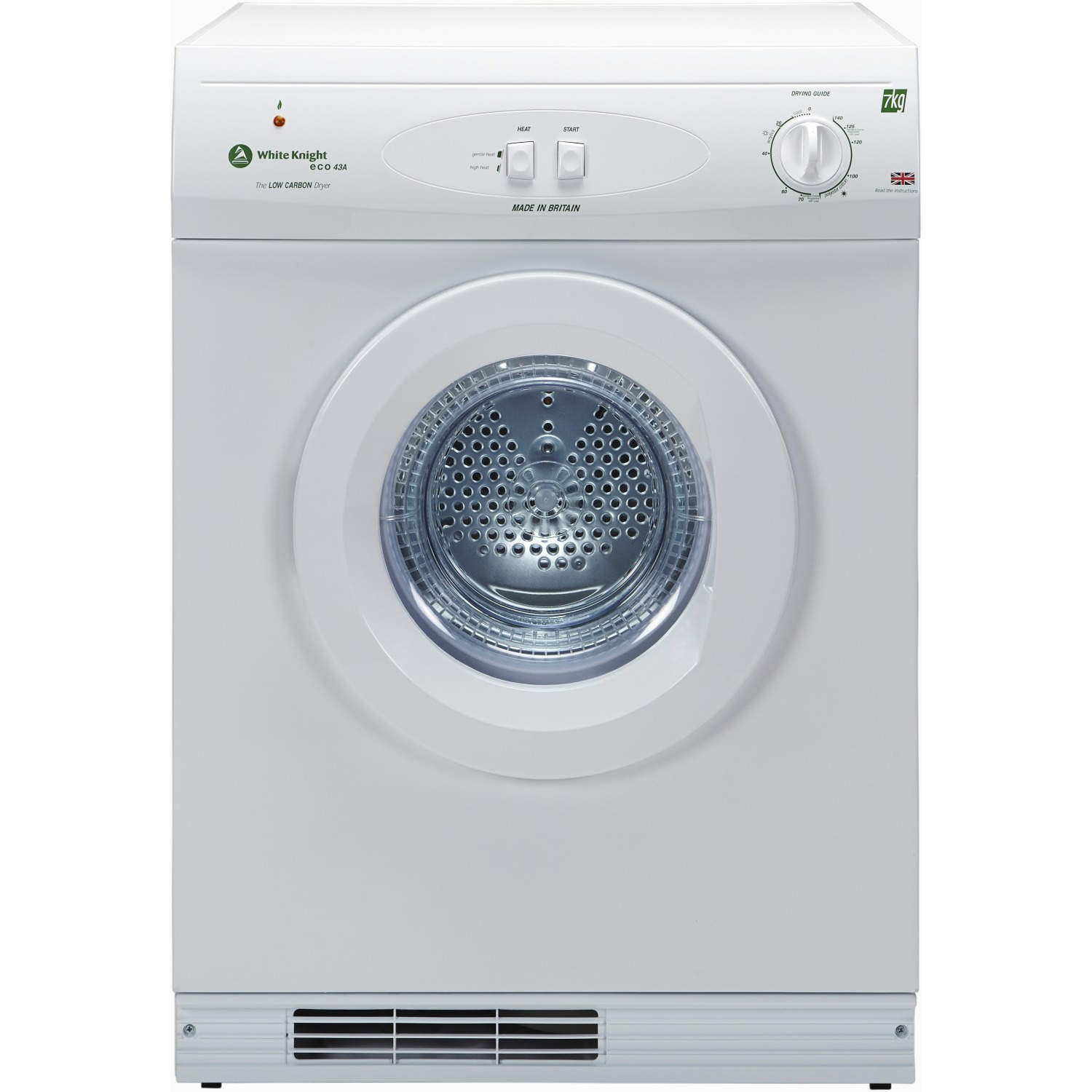 White Knight ECO43AW 7Kg Multi-function Reverse-action Freestanding Vented Gas Tumble Dryer - White   Appliances Direct