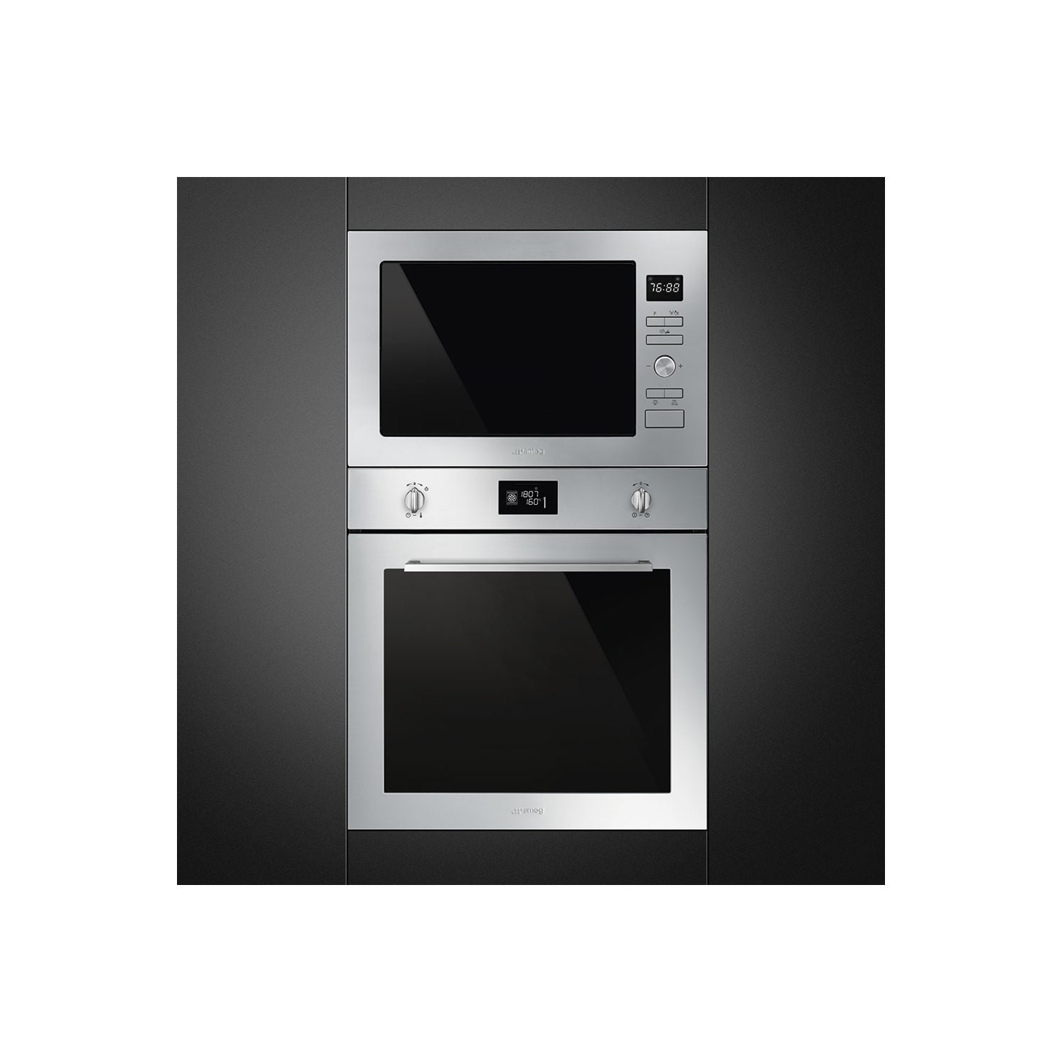 smeg fmi425x cucina 25l built in microwave oven and grill stainless steel