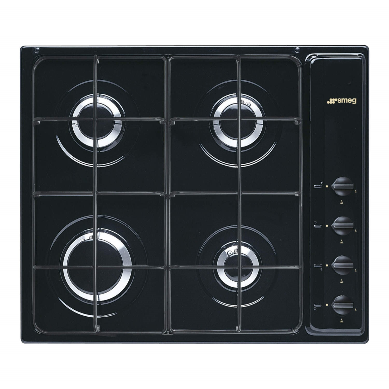 Smeg S64SN Cucina 60cm Black 4 Burner Gas Hob With New Style Controls  Appliances Direct