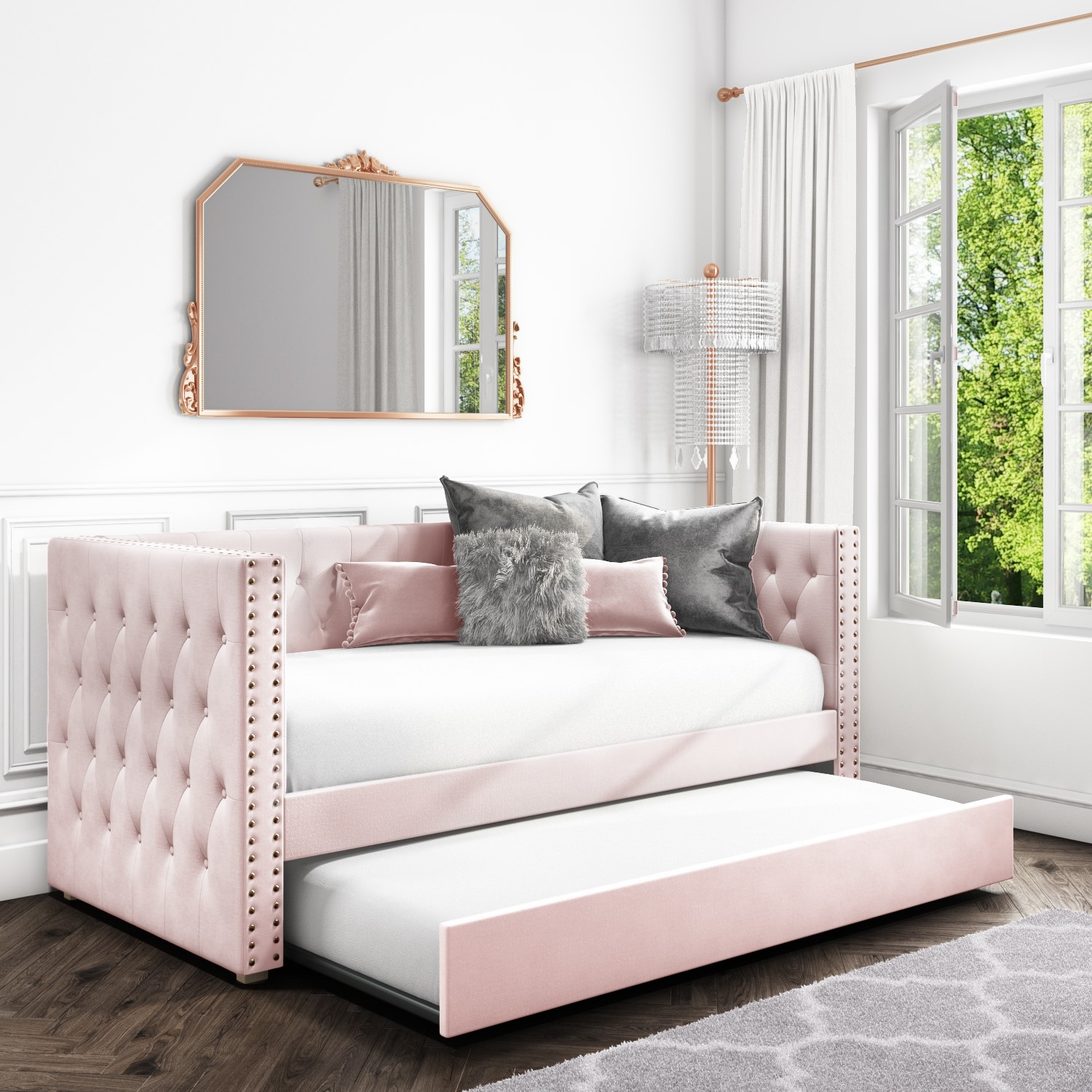 Sacha Velvet Sofa Bed in Baby Pink   Trundle Bed Included ...