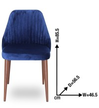 Single Blue Velvet Upholstered Dining Chair