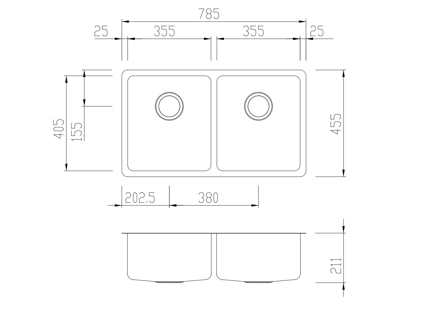 hight resolution of double sink diagram